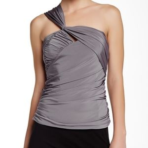 LAMB Grey One Shoulder Ruched Blouse XS NWT